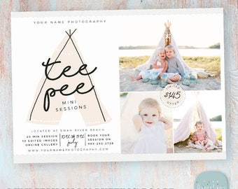 Teepee Mini Session Marketing Board - Photoshop Template IG013 - Instant Download