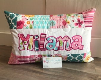 Summer breeze children's butterfly pillow case with name. 12x18 inches