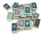 12 Botanical Matchboxes - Outdoor Summer Garden Party Favors - Twelve Rustic Woodland Wedding Matches - Herbal / Floral Print Matchbooks