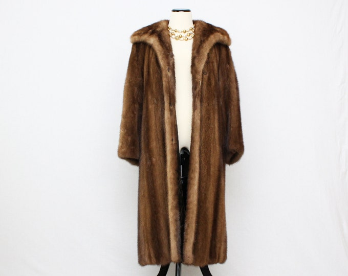 Full Length Mink Coat - Vintage 1960s Brown Long Fur Coat