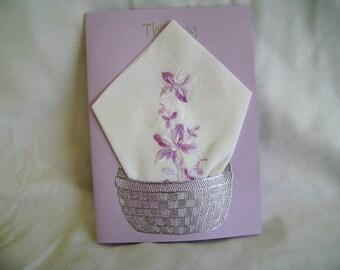 Sympathy Greeting Card, Sympathy Handkerchief Card, Handmade Greeting Card
