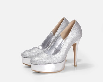 Moana Silver Wedding Shoes, Silver Glitter Wedding Shoes, Silver  Bridal Shoes, Silver Sparkling Wedding Shoes