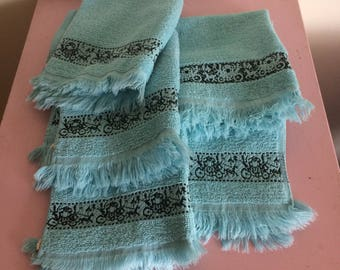 Set of 5 Blue and Black Hand Towels