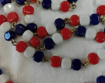 Vintage Red White & Blue patriotic beaded necklace