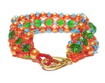 Pearl bracelet colorful bracelet glass beads Miyukiperlen BOHO engineered bracelet