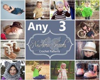 Any 3 Individual  CROCHET PATTERNS from NewbornKnots