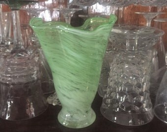 Free Shipping Green Swirl Blown Art Glass Handkerchief Vase Mid-Century