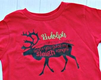 Rudolph the red nose reindeer shirt, Christmas shirt, Kids christmas shirt, Rudolph shirt, holiday shirt, santa shirt, christmas onesie