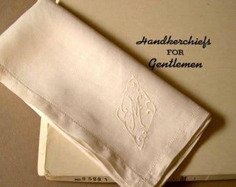 "Men's vintage monogram M, handkerchiefs, off-white linen, machine embroidered, set of two, 1940's-50's, 17"" square, handsome, classic."