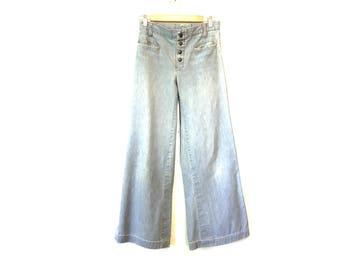 70s Vintage Wide Leg Bell Bottoms / Denim Bell Bottoms /  Vintage Jeans