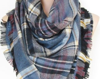 Blanket scarf Plaid scarf fall winter Flannel scarf Oversize Cowl scarf Women Fashion Accessories Christmas gifts for her for women Holiday