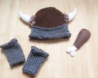 Baby Viking Hat, Leg Warmers and Drumstick Toy Set - Knitted Viking set for baby