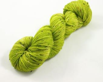 Chartreuse, tweed sock yarn, fingering weight yarn, indiedyed yarn, hand dyed sock yarn, speckled sock yarn, pink sock yarn