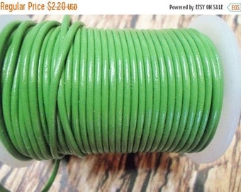 4 feet 2mm Green Round Leather Cord,
