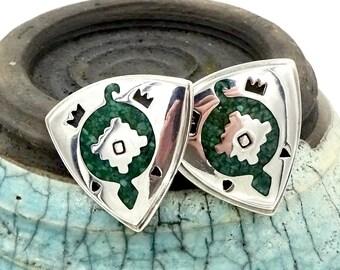 Vintage CAROLYN POLLACK EARRINGS Relios Sterling Silver Inlaid Turquoise Turtle Earrings