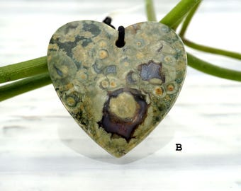 Rainforest Rhyolite heart shape pendants (ETP00280)