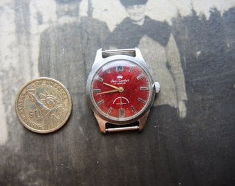 Vintage MAN Mechanical wrist Watch Jean Cardot 17 jewels with VOSTOK 17 j movement / special edition watch USSR era late 1960s / collectible