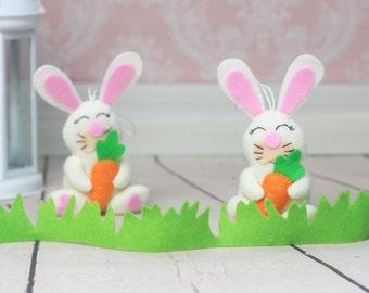 Felt bunny rabbit ornament nursery decorations bunny plush bunny ornament spring home decor woodland nursery rabbit mobile cute bunny