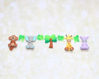 Jungle Animals Felt Garland Zoo Animal Banner Safari banner Jungle Nursery Decor Nursery Bunting Safari nursery twiggy decoration