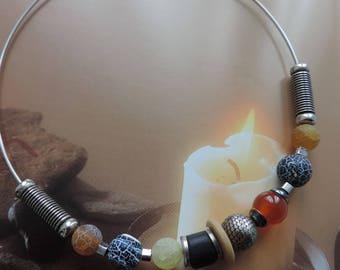 Lithotherapy necklace 'Meditation' gem stone jewelry, agate