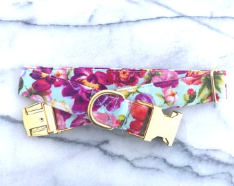 Floral Dog Collar with Gold Metal Buckle - Aluminum Buckle, Puppy, Handmade, Gold Buckle