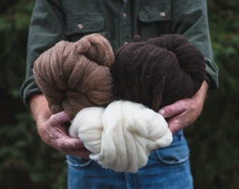 Natural Pindrafted Polwarth x Cormo x Finn Wool Roving