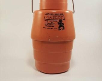 MCM Mascot Cooler Columbian Terre Haute, Ind. Fiberglass Insulated, Atlas 2 qt Mason Jar