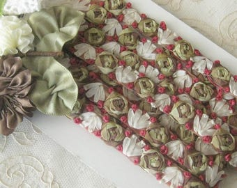 Beautiful Ribbonwork Trim - Embroided Silk Ribbon Roses in Fall Colors - Crafts,  Sewing, Costumes, Crazy  Quilt - Sold by the Yard