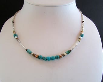 Turquoise Necklace 17 Inches - Natural Turquoise Stone Beads with Brass, Copper, and Silver - Genuine Turquoise Stone Necklace