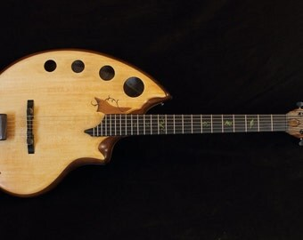 6 string, acoustic guitar, Handmade musical instrument. By Rays Rootworks. Sacred geomtry shape.