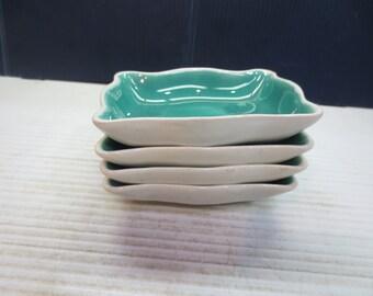 Set of 4 Ceramic Glazed Trinket Dishes Or Candy Dishes