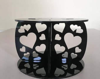 "Hearts Round Black Gloss Acrylic Cake Pillars / Cake Separators, for Wedding / Party Cakes 10cm 4"" High, Size 6"" 7"" 8"" 9"" 10"" 11"" 12"""