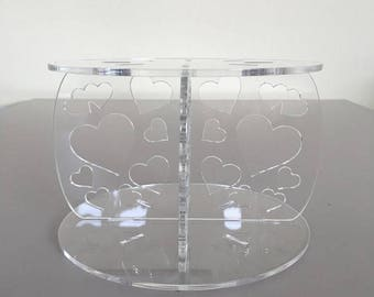 """Hearts Round Clear Gloss Acrylic Cake Pillars / Cake Separators, for Wedding / Party Cakes 10cm 4"""" High, Size 6"""" 7"""" 8"""" 9"""" 10"""" 11"""" 12"""""""