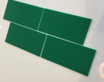 "Green Gloss Acrylic Rectangle Crafting Mosaic & Wall Tiles, Sizes: 1cm to 25cm -  1"" to 10"""