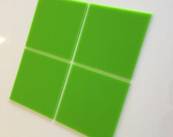 "Lime Green Gloss Acrylic Square Crafting Mosaic & Wall Tiles, Sizes: 1cm to 20cm - 1"" to 7.9"""