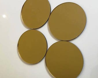 """Gold Mirrored Acrylic Circles Crafting Mosaic & Wall Tiles, Sizes: 1cm to 20cm - 1"""" to 7.9"""""""
