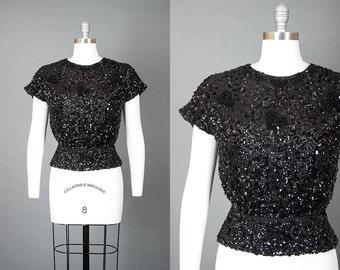 Vintage 50s Sequin Beaded Silk Peplum Top | 1950s Black Sparkly Evening Blouse (medium/large)