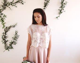 Bridal lace bolero - cover up / crop top - bridal separates - lace, sheer, ready to wear, bohemian wedding,woodlands wedding