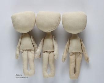 """Doll, 3 Blank doll body-5.5"""", blank rag doll, ragdoll body,the body of the doll made of cloth"""