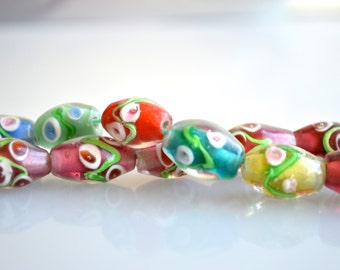 Pink and Muti Color Flower Lampwork Glass Beads Barrel Shape Size Approx. 10x15mm Full Strand