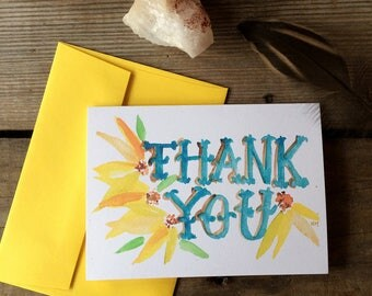 Black Eyed Susans Thank You Notes -- Watercolor Notecards, Hand Lettering