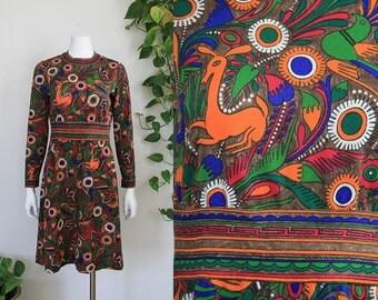 1960's Goldworm Trevira 2000 Knit Psychedelic Op Art Gustav Klimt Peruvian Folk Graphic Animal Print