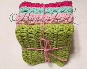 Cotton Dish Cloths 4 Hand Crochet Dish Cloths Crochet Dish Towel Pink Hot Pink Lime Green