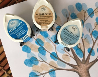 set of 3 Memento stamp pads in baby blue, tan and bright blue memento dew drop stamp pads,  fingerprint ink pads, fingerprint tree mini