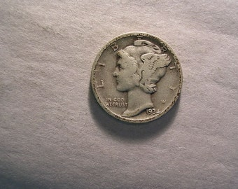 1934 D Mercury Dime Silver  #2736, Hard to Find Coin