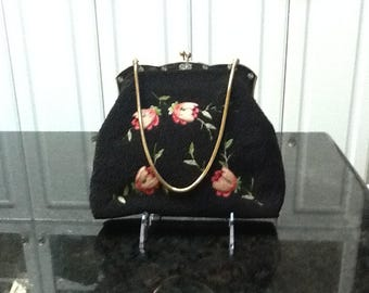 Vintage Beaded Handbag with Tambour Embroidery