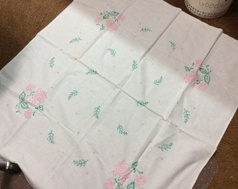 "Vintage tablecloth 38 x 40"", embroidered"