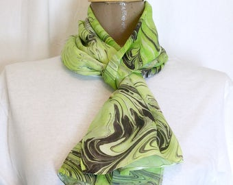 "Lime in the Coconut marbled silk satin scarf 11"" x 60"""