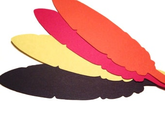 "Feathers - 5"" Paper Die Cut - Select a Color - fall autumn. Tribe, Thanksgiving turkey, Place Cards, Boho theme, Fall Decor, Fall Craft"