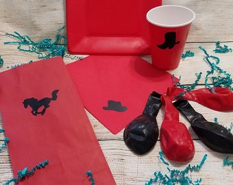 Western Party Pack- Cowboy Birthday Party - Cowgirl Party - Rodeo Party - Yeehaw Party - Western Wedding - Cups - Plates - Napkins - Balloon
